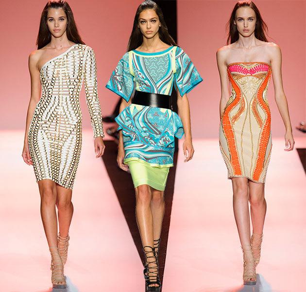 яркие цветовые решения в модных платьях 2015