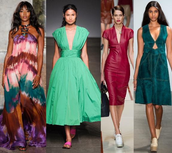 цветные модные платья 2015 года