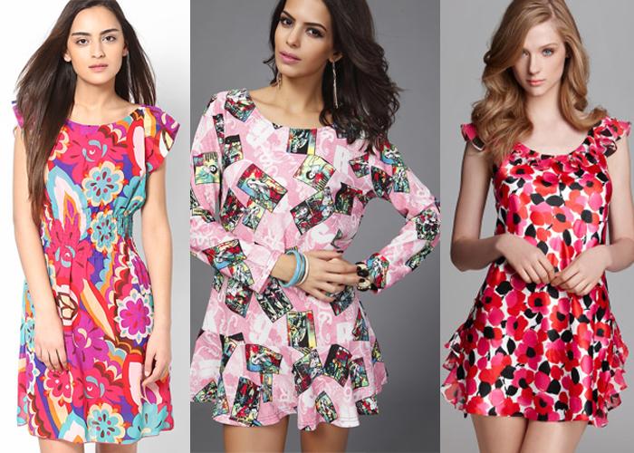 розовые платья с принтом
