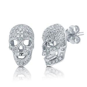 серьги-черепа серебряные