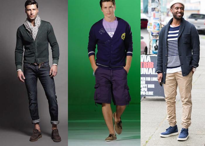 мужской кардиган с шортами или джинсами