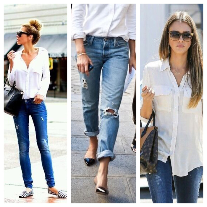 белая рубашка в стиле нормкор