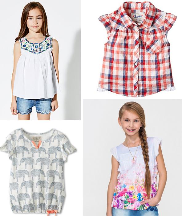 блузки для девочек 2015 с принтом и в клетку