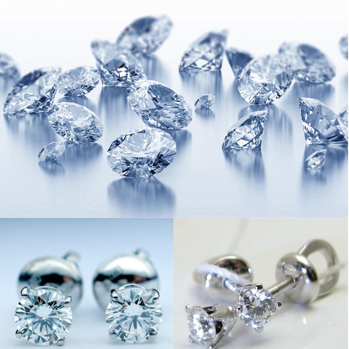 бриллианты и серьги-гвоздики с бриллиантами