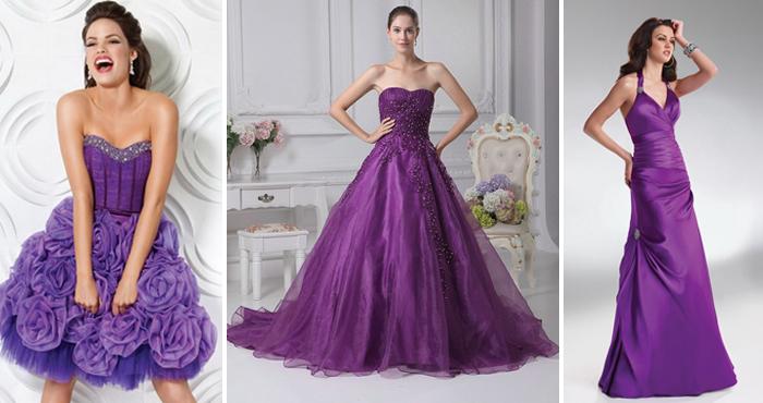 фасоны фиолетовых свадебных платьев