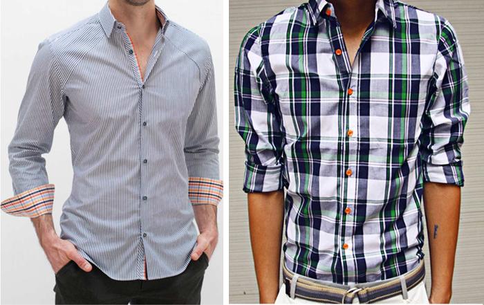 мужская рубашка в полоску и рубашка в клетку