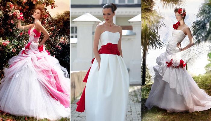 сочетание красного с белым в свадебных платьях