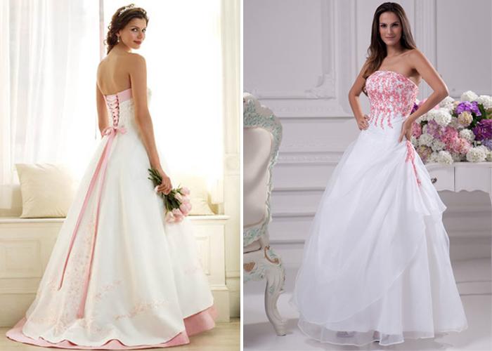 розово-белые свадебные платья