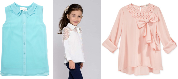 однотонные блузки для девочек