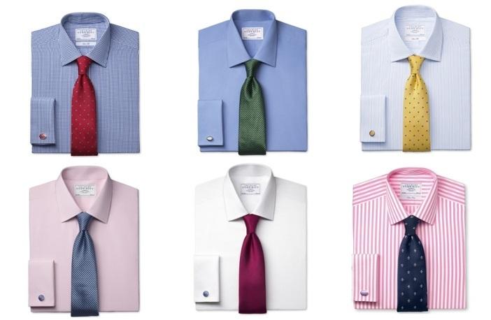 ассортимент мужских рубашек и галстуков