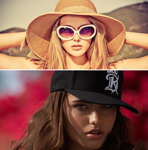 блондинка в изысканной шляпе и брюнетка в модной бейсболке