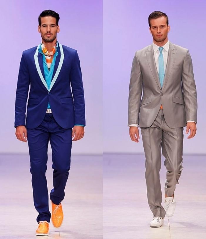 синие и серые мужские костюмы