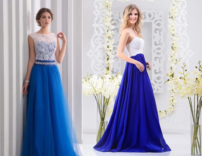 синие свадебное платье с белым лифом