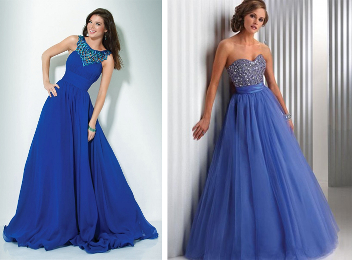 синие свадебные платья