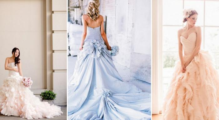свадебные платья постельных тонов