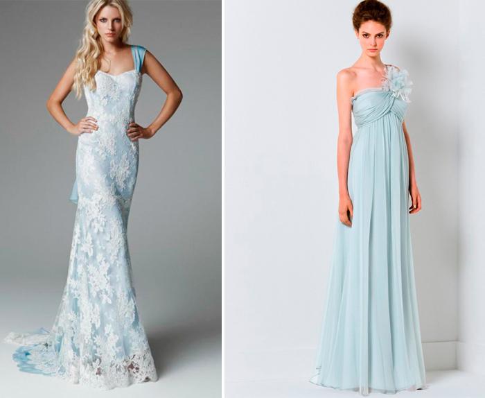 свадебные платья голубого цвета в моделях рыбка и ампир
