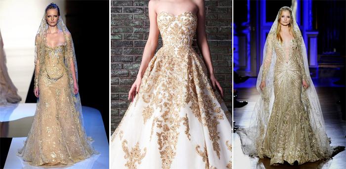 золотистые свадебные платья