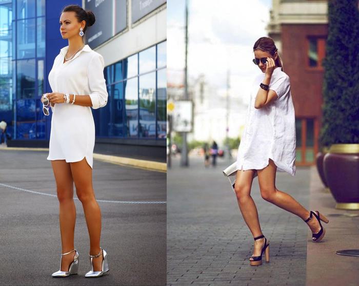 белое платье в виде рубашки