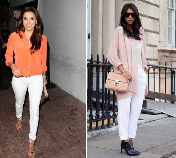 белые брюки в романтическом стиле