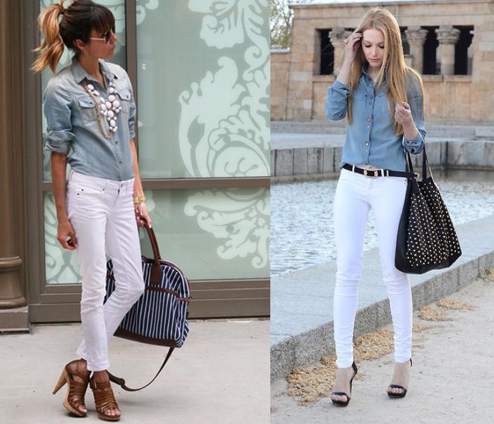 белые брюки с джинсовой рубашкой