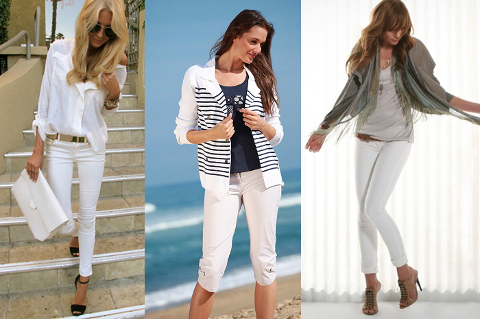 белые брюки в молодежном стиле