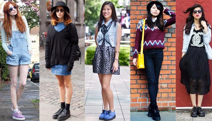 ботинки с разной одеждой