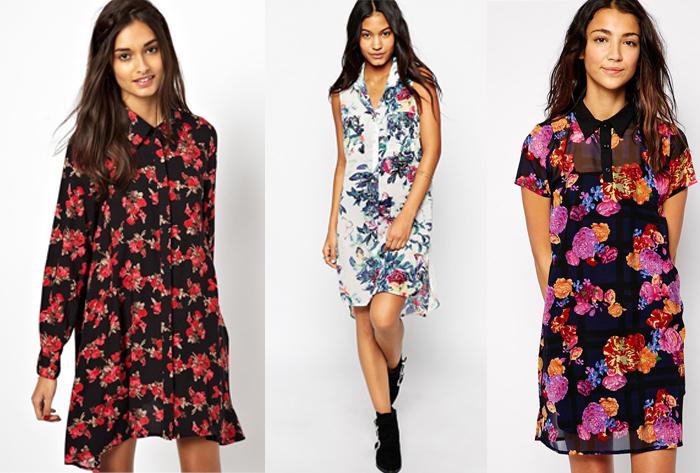 платья-рубашки с цветочным принтом