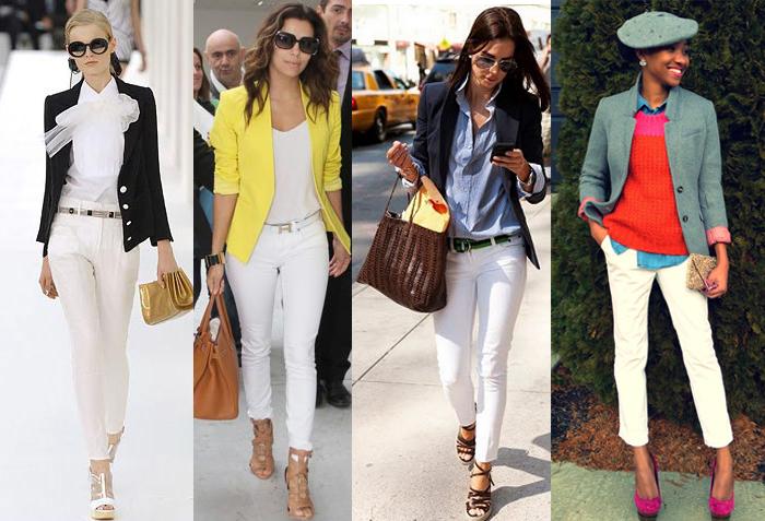 элегантный наряд с белыми брюками