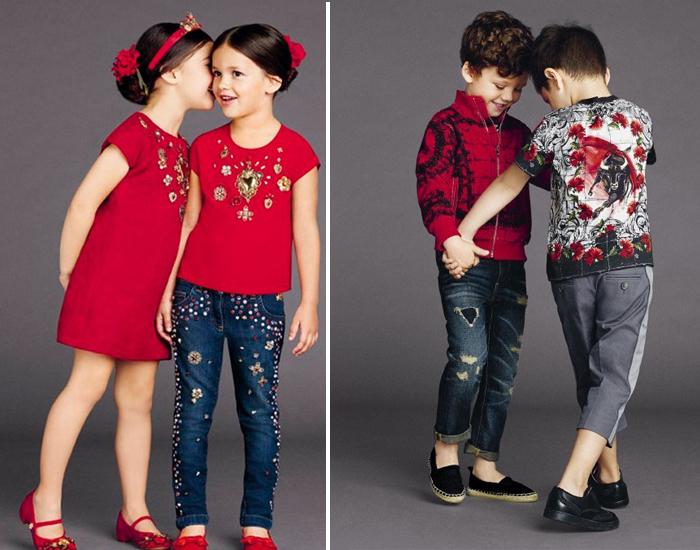 красный и бордовый цвет детской одежды
