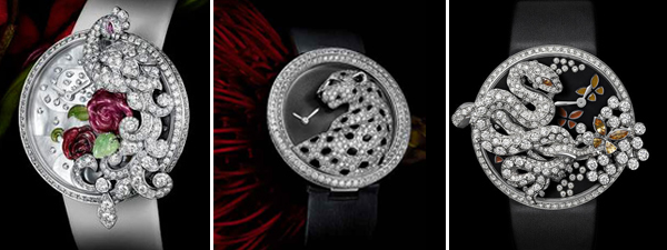леопарды, птицы, змеи украшают часы cartier