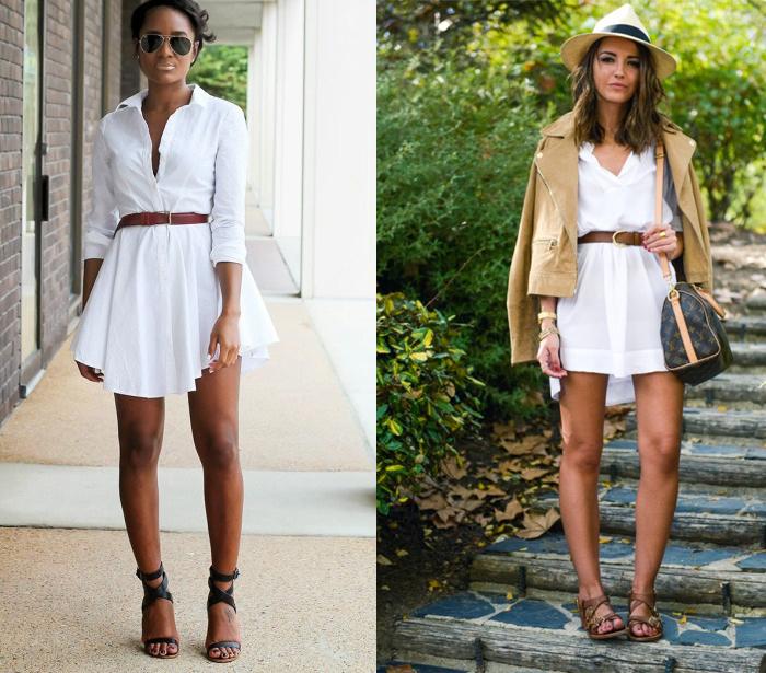 белое платье-рубашка с коричневым поясом
