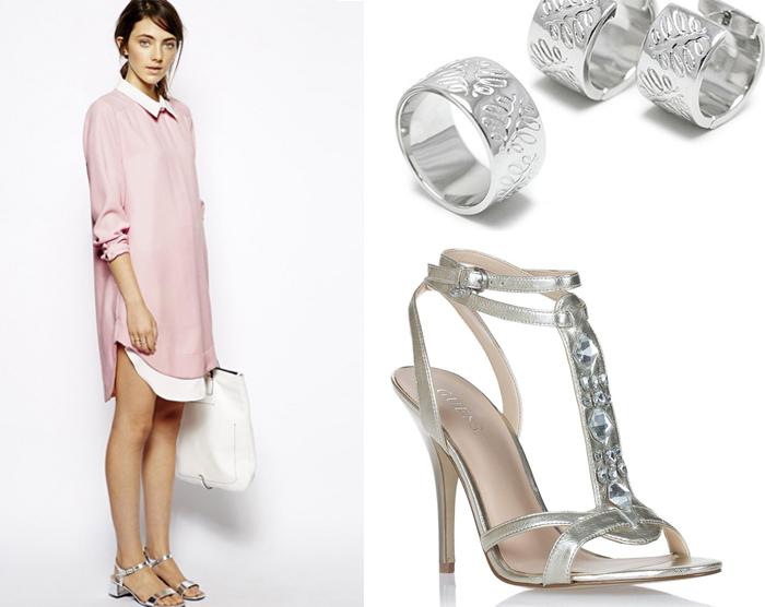 платье рубашка с серебряными украшениями