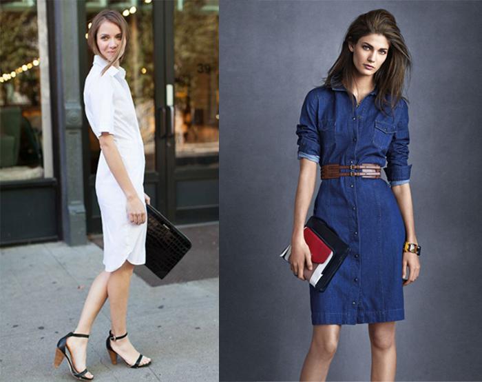 модное платье-рубашка в деловом стиле