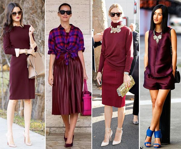 платья марсала с разными аксессуарами
