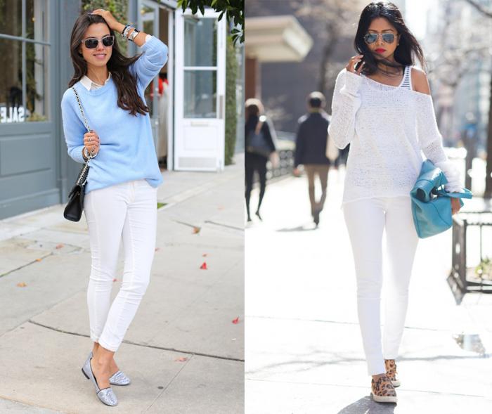 свитер и белые брюки