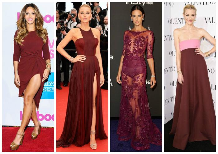винно-красные платья