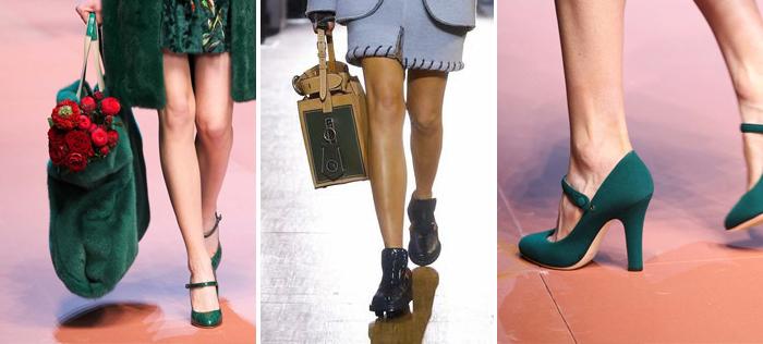 показ модной женской обуви бирюзового цвета