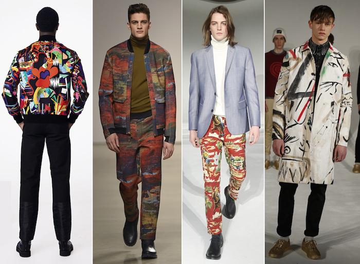 крупные принты и экстравагантные элементы мужской одежды
