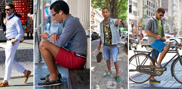 мокасины с брюками и шортами
