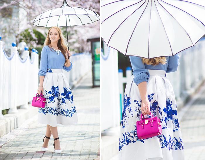 стильный образ с зонтом