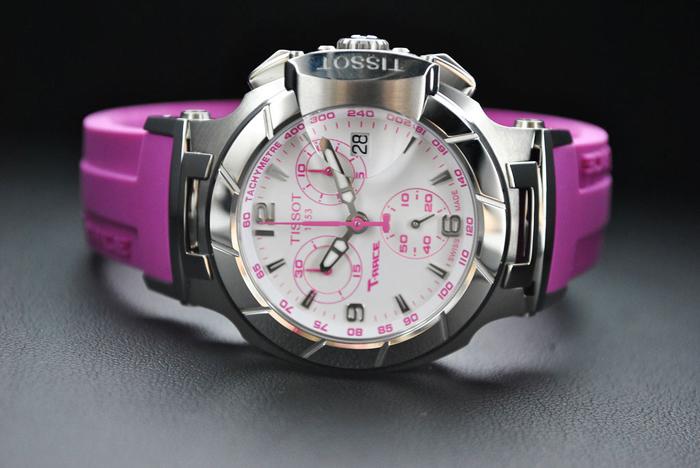 розовые часы Tissot с хронометром и секундамером