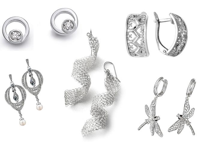 серьги-гвоздики из серебра