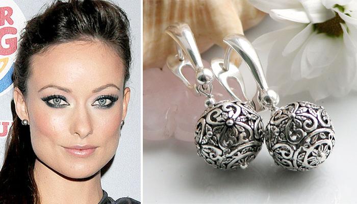 серебряные серьги круглой формы к узкому лицу