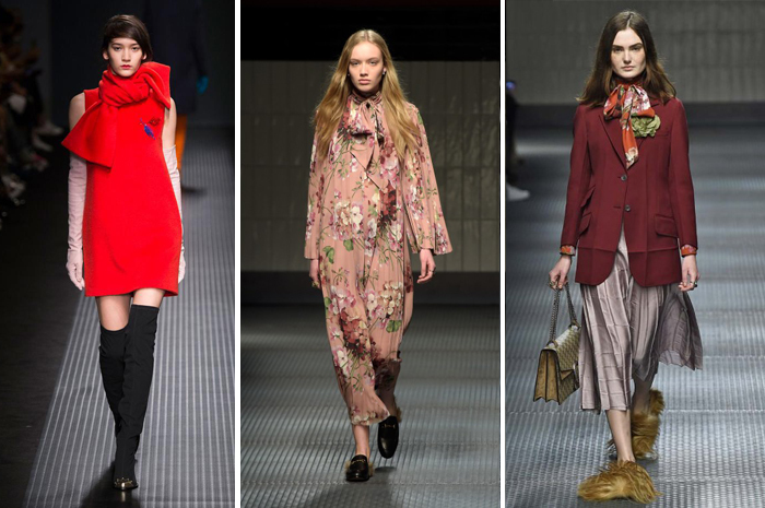воротник бант в моделях одежды от MSGM и Gucci