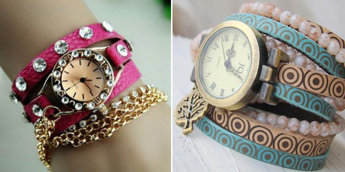 женские наручные часы с несколькими ремешками-браслетами