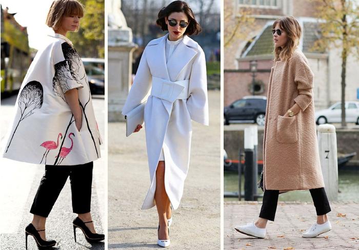 пальто разной длинны в стиле оверсайз