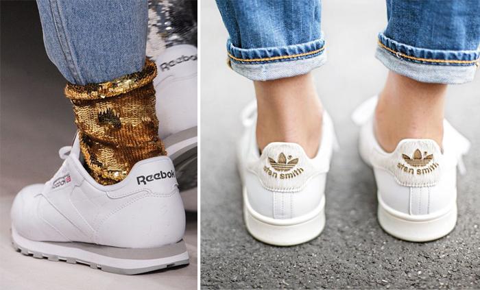 белые теннисные туфли с джинсами