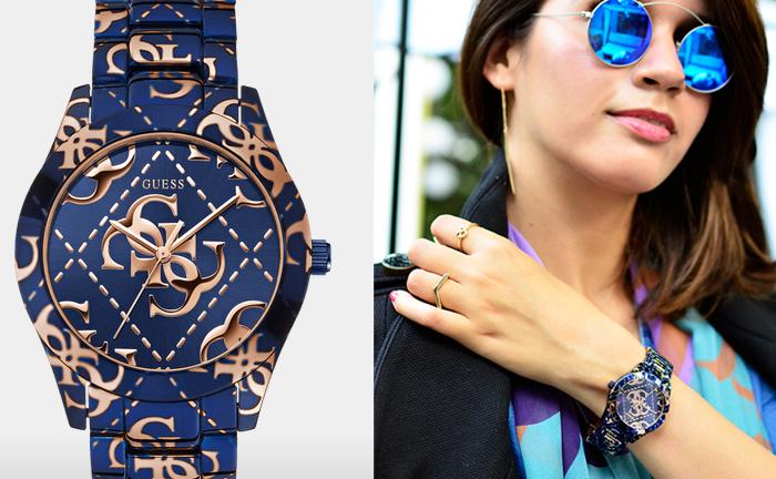 женские наручные часы Guess с уникальным циферблатом