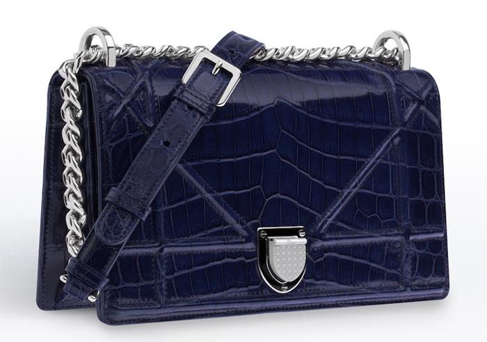 синяя женская сумка из крокодиловой кожи