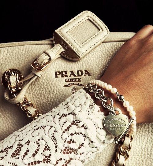 белая сумка Prada